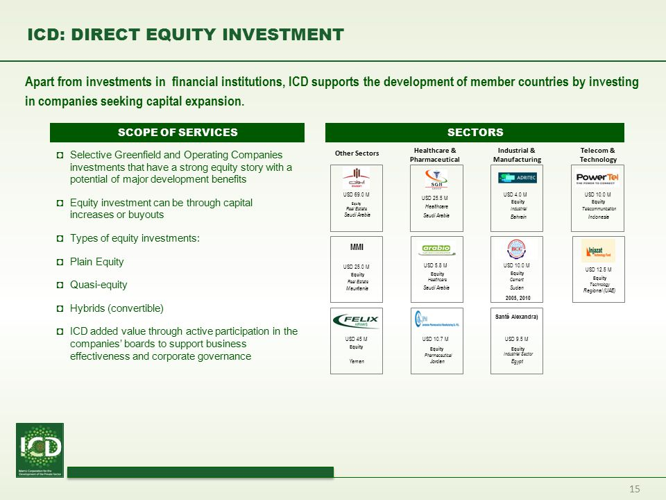 ICD: DIRECT EQUITY INVESTMENT