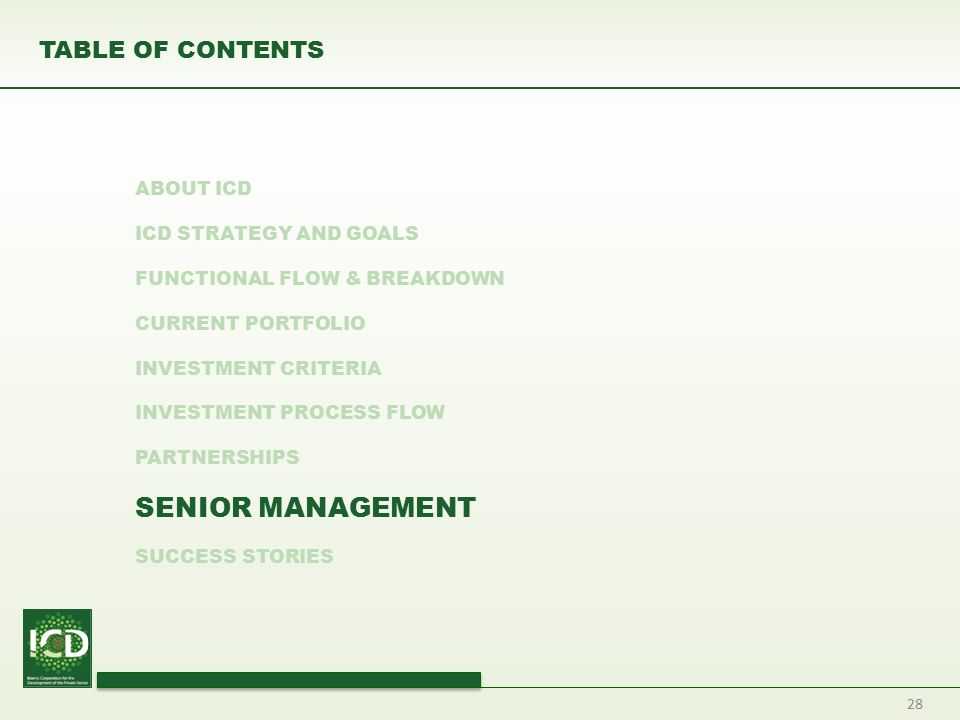 TABLE OF CONTENTS ABOUT ICD ICD STRATEGY AND GOALS