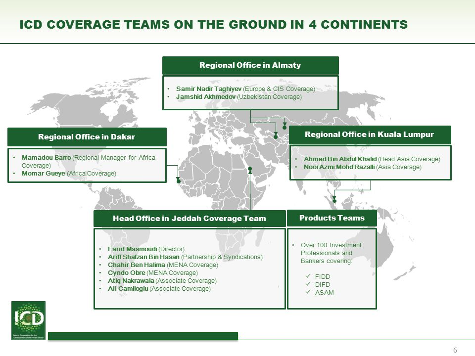 ICD COVERAGE TEAMS ON THE GROUND IN 4 CONTINENTS