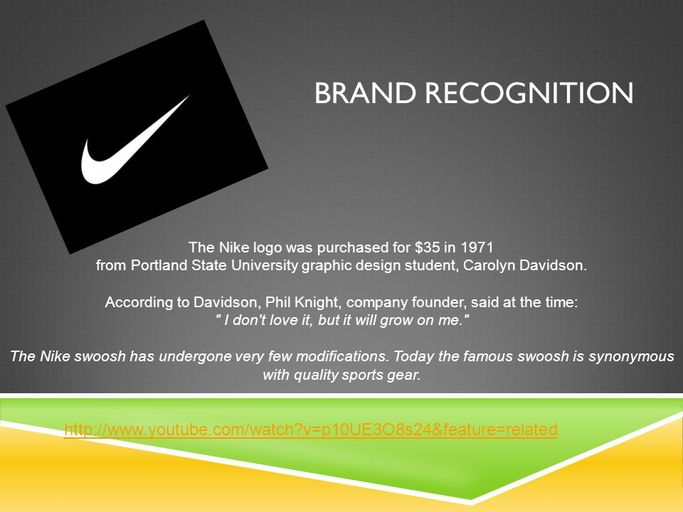 The Nike logo was purchased for $35 in 1971