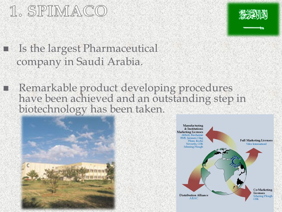 1. SPIMACO Is the largest Pharmaceutical company in Saudi Arabia.