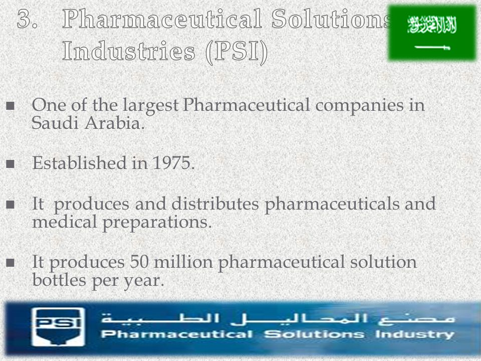 3. Pharmaceutical Solutions Industries (PSI)