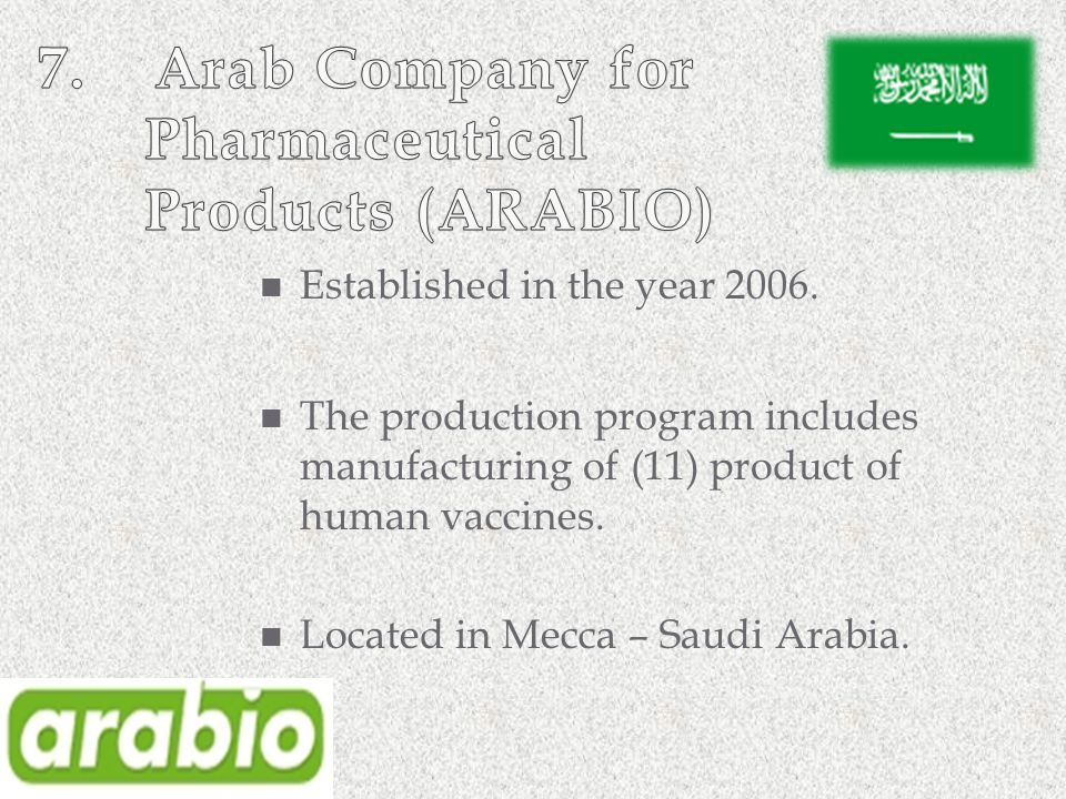 7. Arab Company for Pharmaceutical Products (ARABIO)