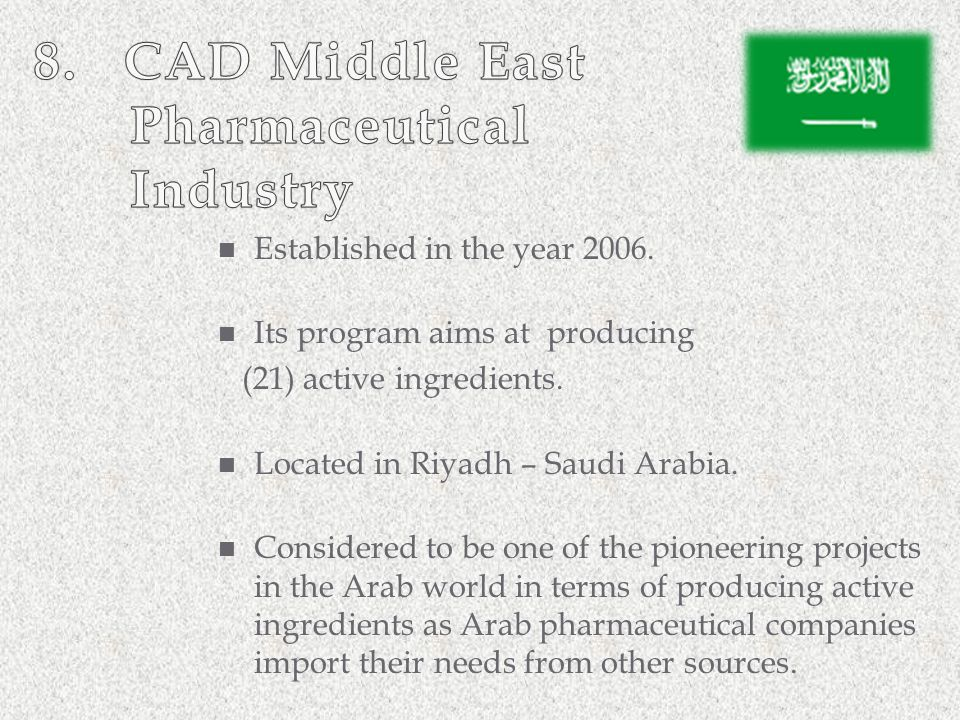 8. CAD Middle East Pharmaceutical Industry