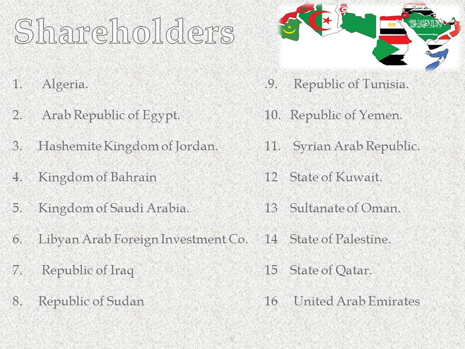 Shareholders 1. Algeria. 2. Arab Republic of Egypt.