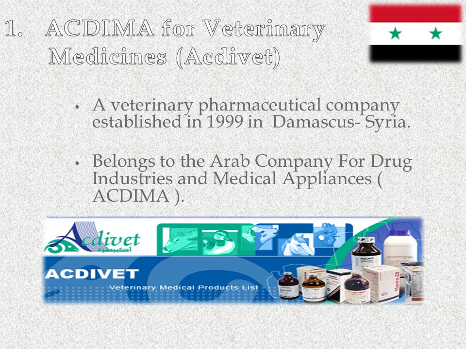 1. ACDIMA for Veterinary Medicines (Acdivet)