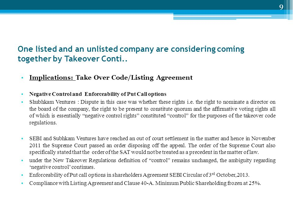 One listed and an unlisted company are considering coming together by Takeover Conti..