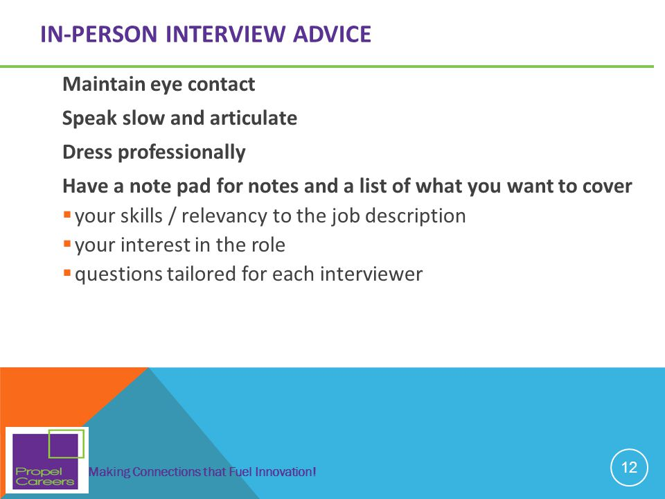 In-person interview advice