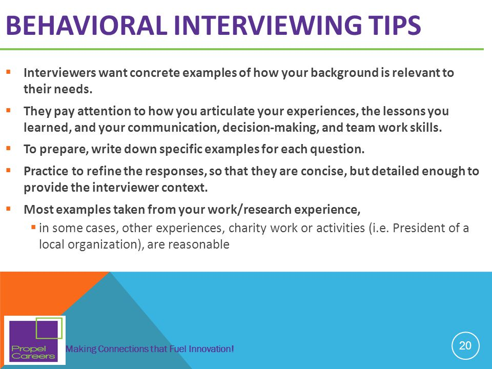 Behavioral interviewing tips