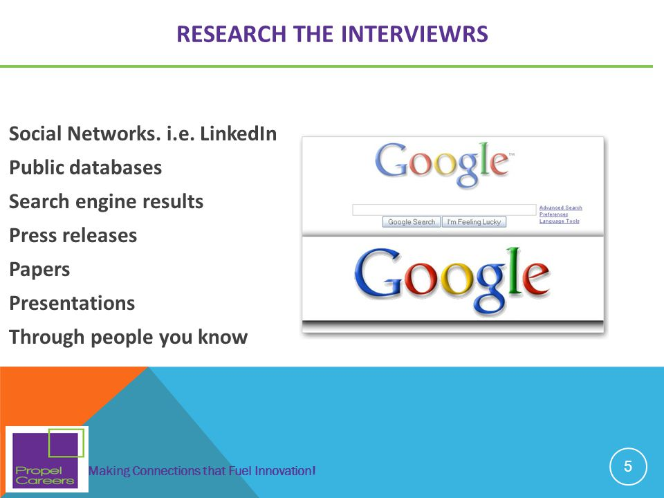 RESEARCH THE INTERVIEWRS