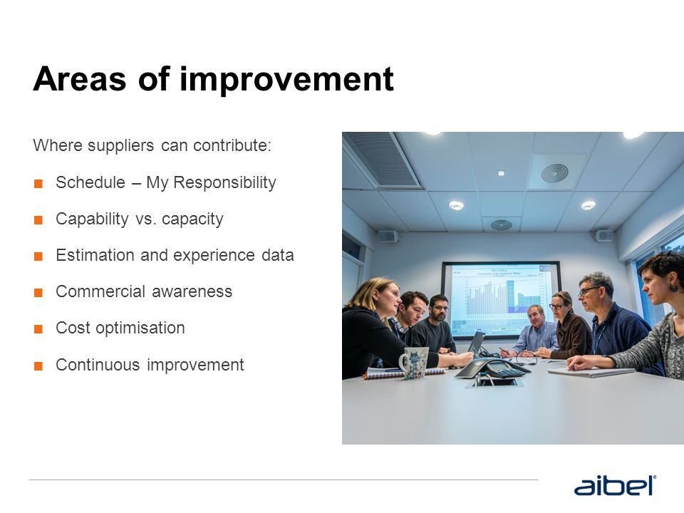 Areas of improvement Where suppliers can contribute: