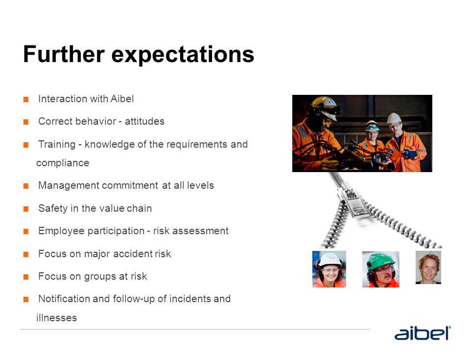 Further expectations Interaction with Aibel