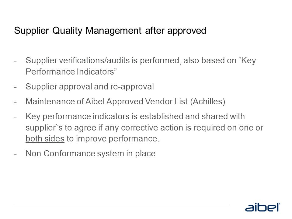 Supplier Quality Management after approved