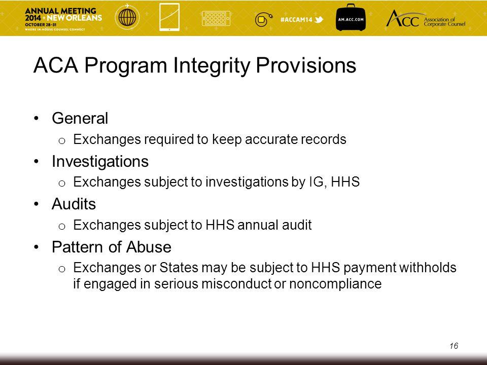 ACA Program Integrity Provisions