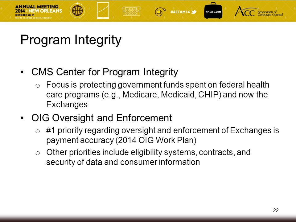 Program Integrity CMS Center for Program Integrity