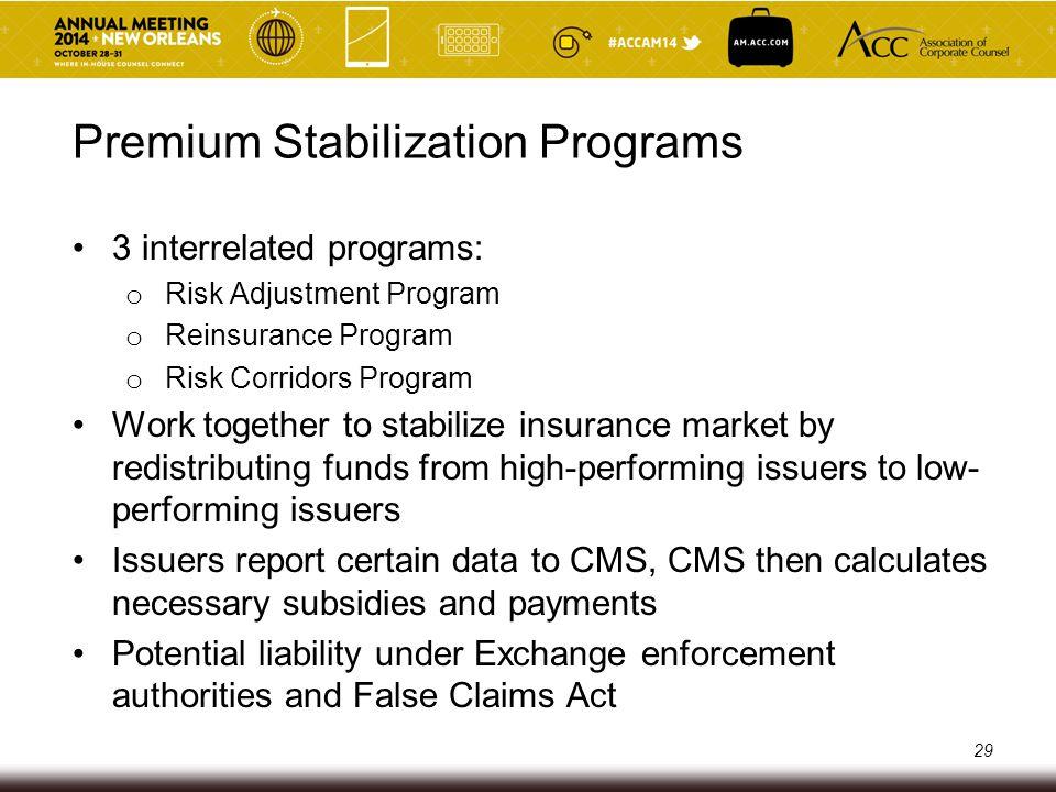 Premium Stabilization Programs