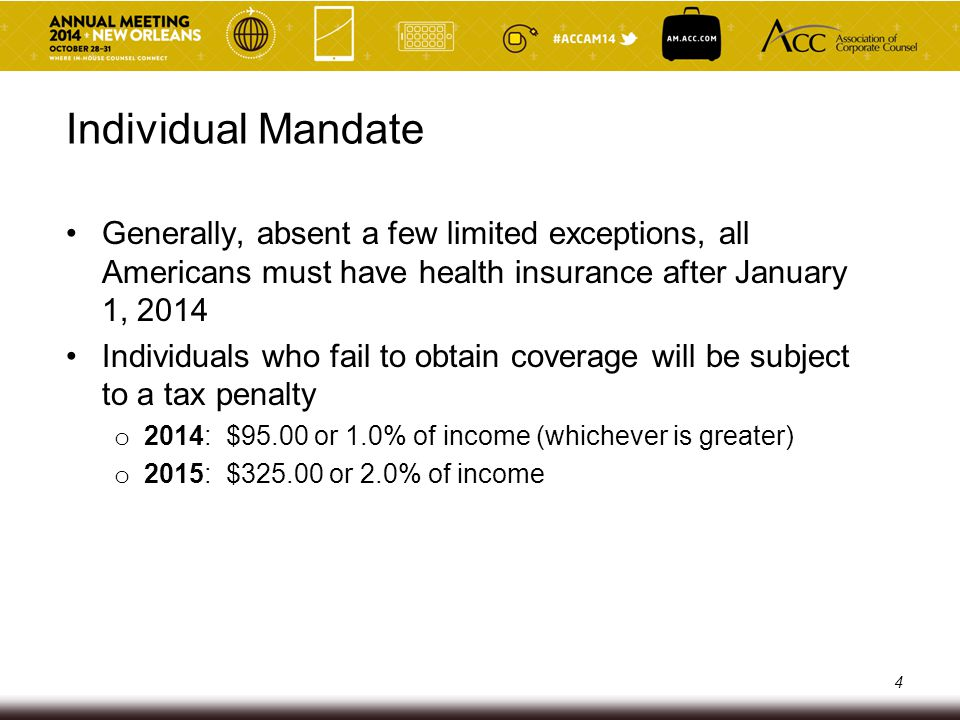 Individual Mandate Generally, absent a few limited exceptions, all Americans must have health insurance after January 1, 2014.