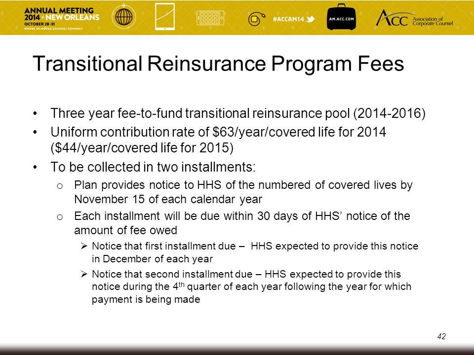 Transitional Reinsurance Program Fees