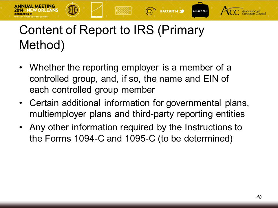 Content of Report to IRS (Primary Method)