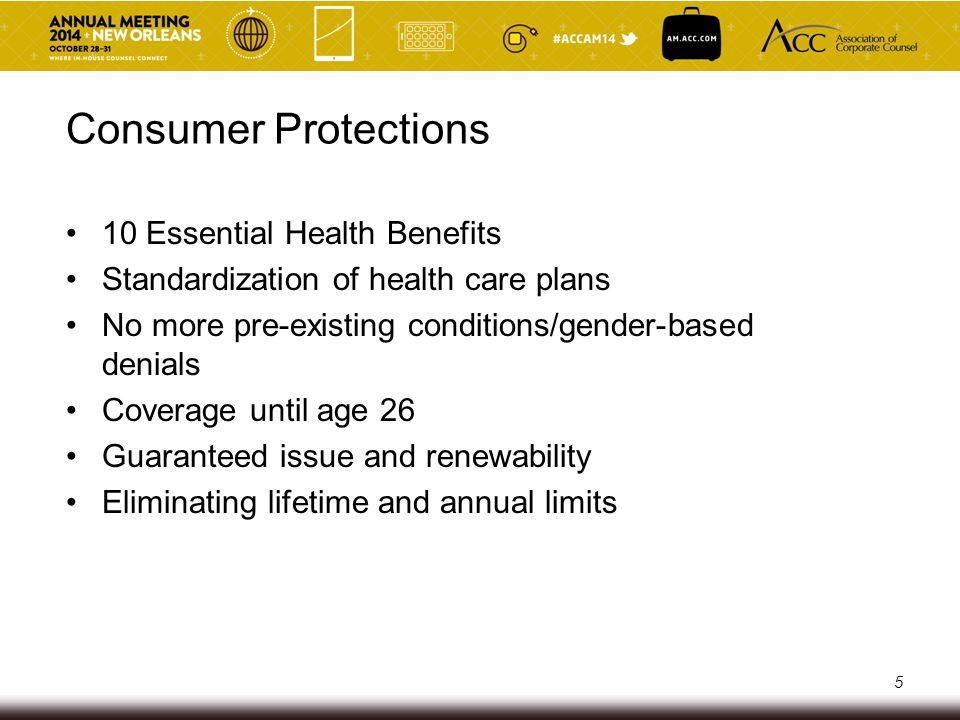 Consumer Protections 10 Essential Health Benefits