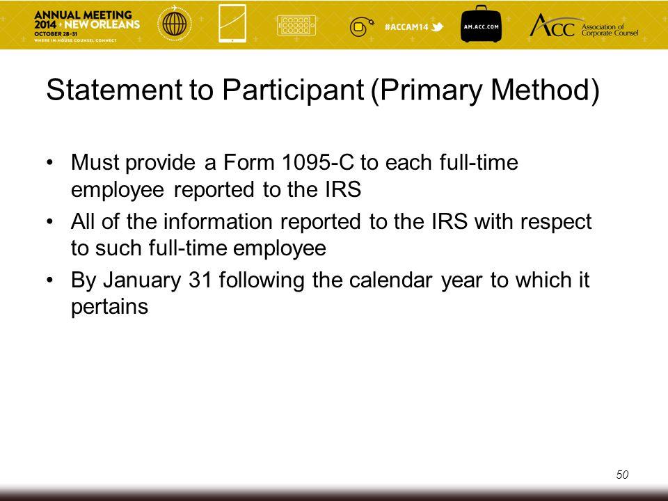 Statement to Participant (Primary Method)