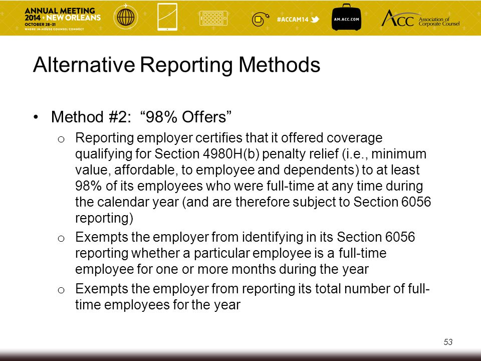 Alternative Reporting Methods