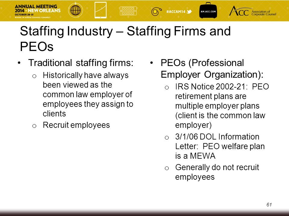 Staffing Industry – Staffing Firms and PEOs