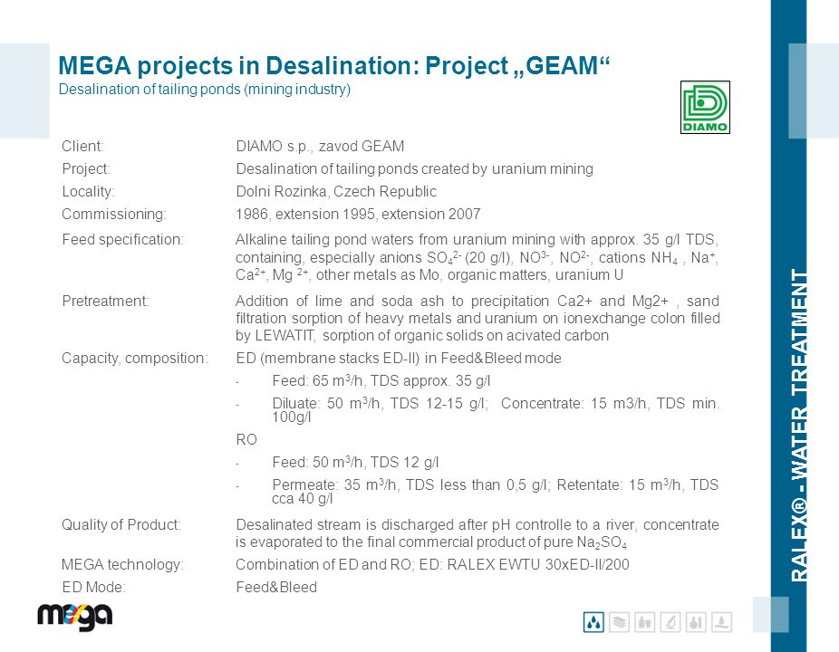"MEGA projects in Desalination: Project ""GEAM Desalination of tailing ponds (mining industry)"