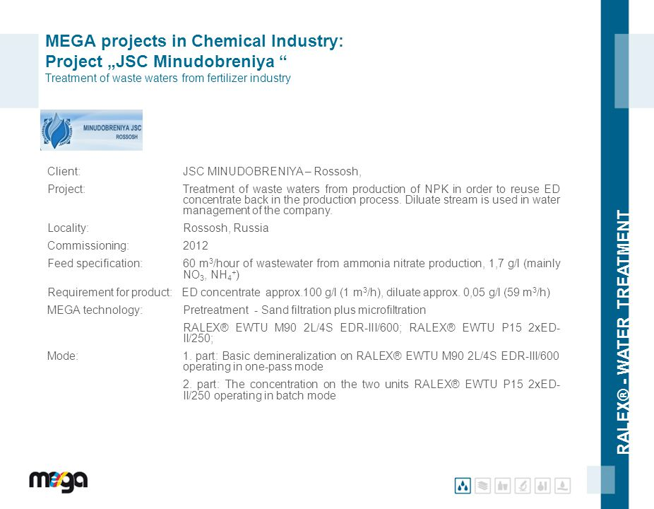 "MEGA projects in Chemical Industry: Project ""JSC Minudobreniya Treatment of waste waters from fertilizer industry"