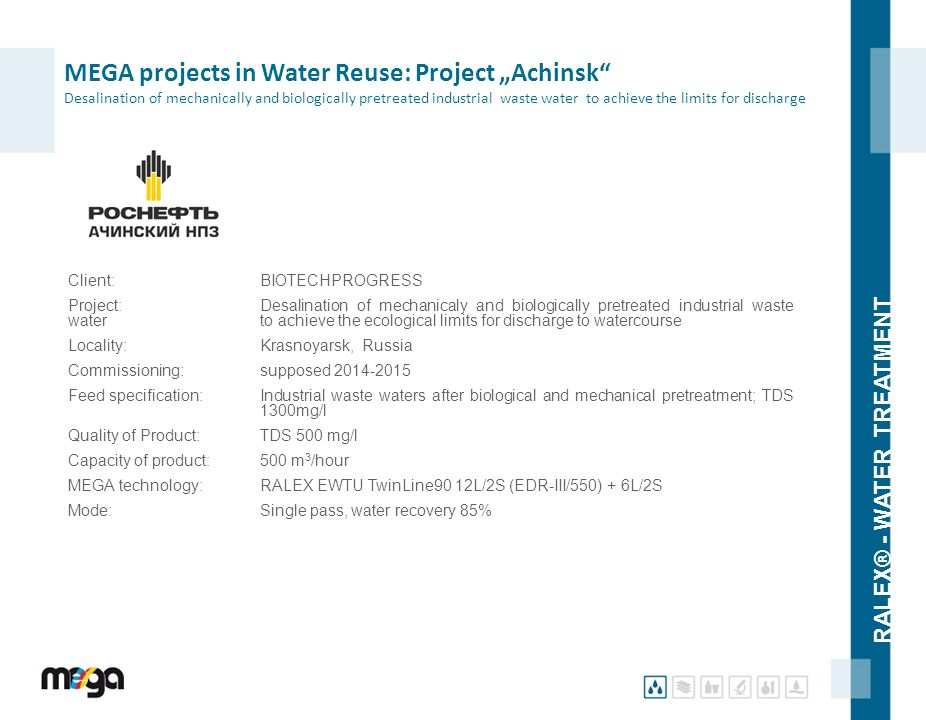 "MEGA projects in Water Reuse: Project ""Achinsk Desalination of mechanically and biologically pretreated industrial waste water to achieve the limits for discharge"