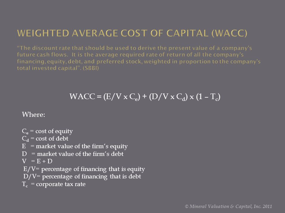 WEIGHTED AVERAGE COST OF CAPITAL (WACC) The discount rate that should be used to derive the present value of a company's future cash flows. It is the average required rate of return of all the company's financing, equity, debt, and preferred stock, weighted in proportion to the company's total invested capital . (SBBI)