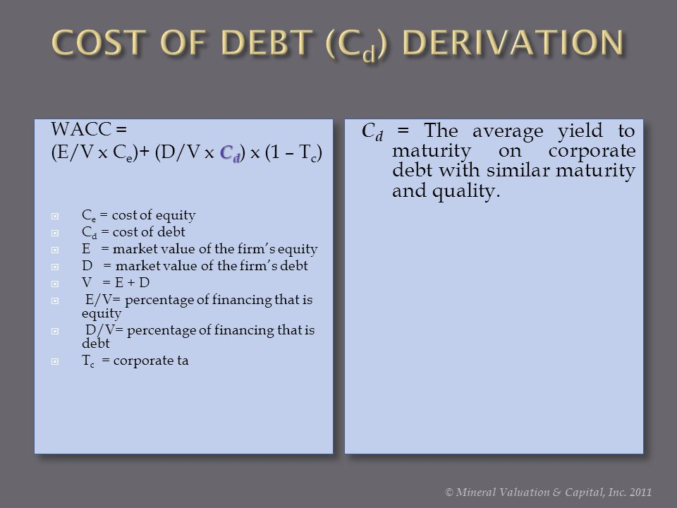 COST OF DEBT (Cd) DERIVATION