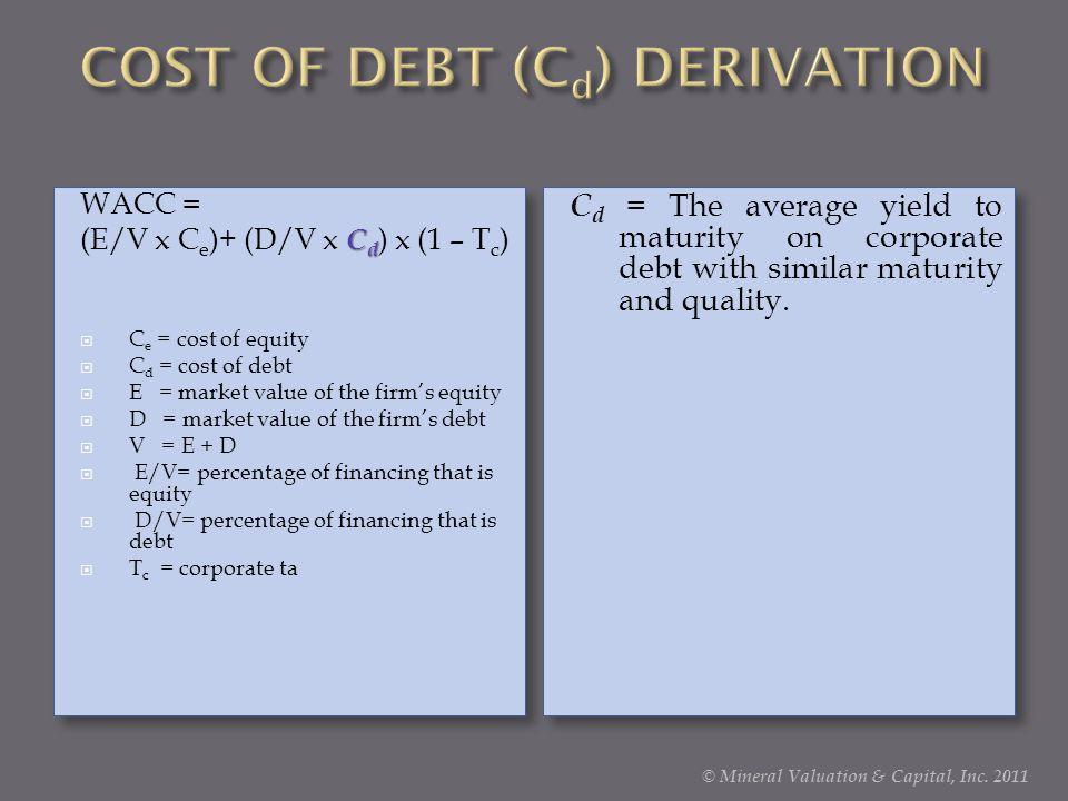 COST OF DEBT (Cd) DERIVATION