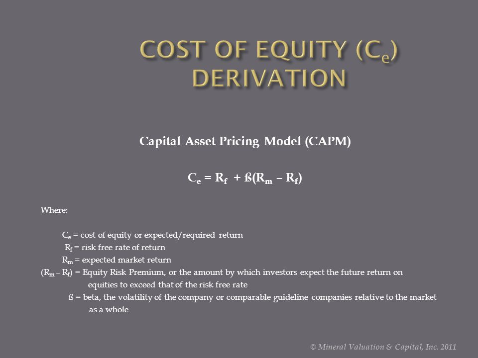 COST OF EQUITY (Ce) DERIVATION