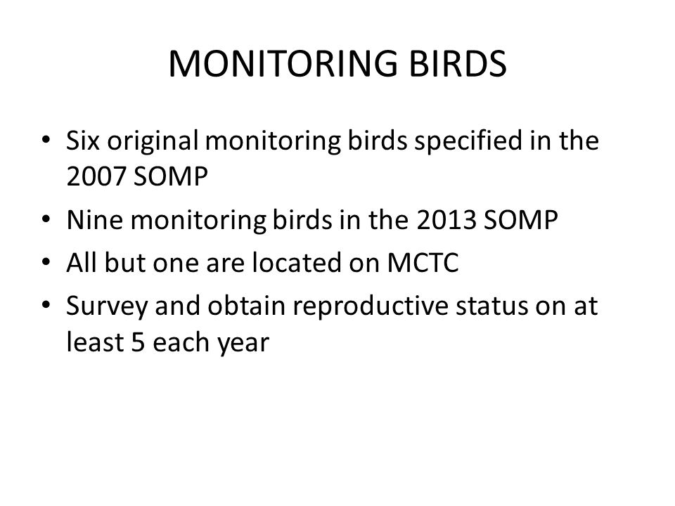 MONITORING BIRDS Six original monitoring birds specified in the 2007 SOMP. Nine monitoring birds in the 2013 SOMP.