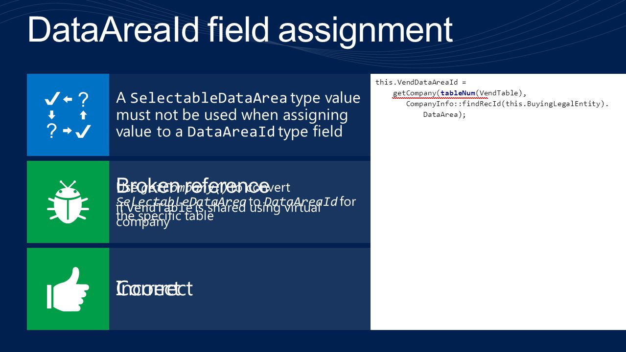 DataAreaId field assignment