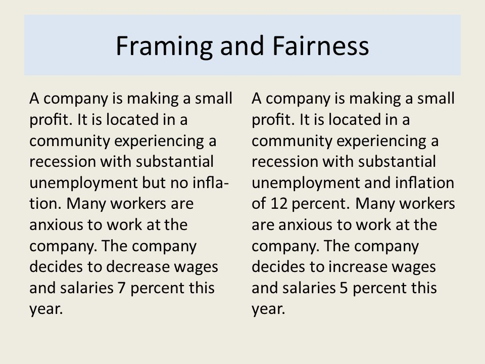 Framing and Fairness