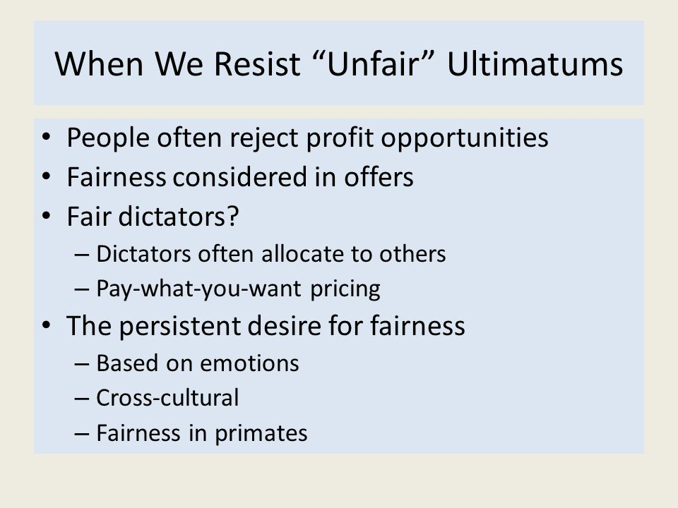 When We Resist Unfair Ultimatums