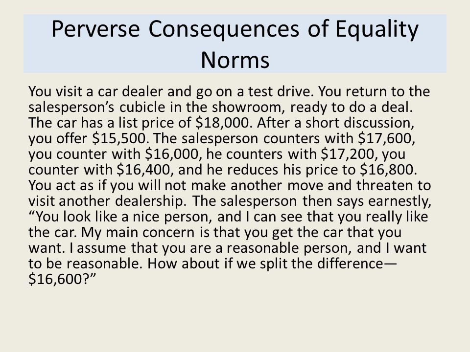 Perverse Consequences of Equality Norms
