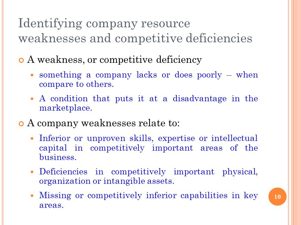 Identifying company resource weaknesses and competitive deficiencies