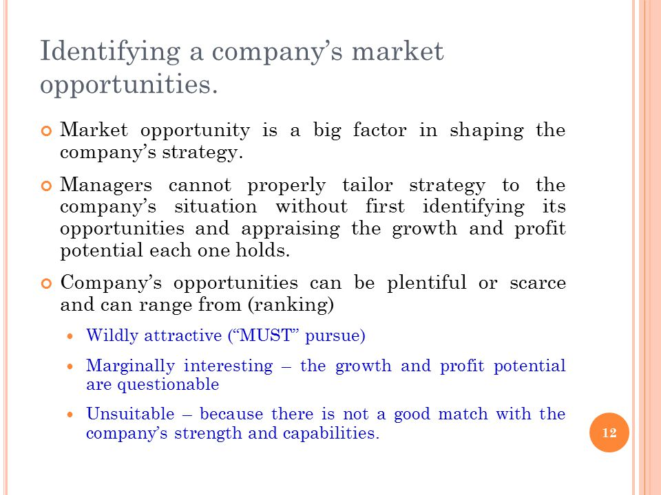 Identifying a company's market opportunities.