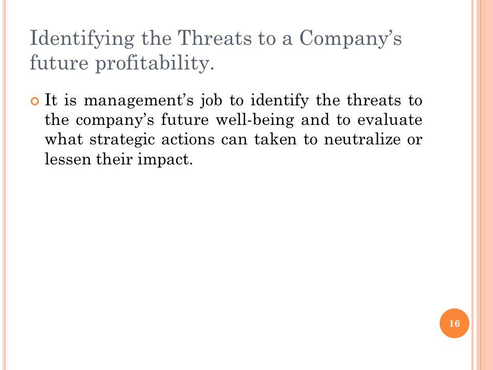 Identifying the Threats to a Company's future profitability.