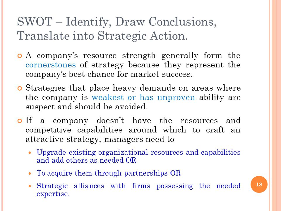 SWOT – Identify, Draw Conclusions, Translate into Strategic Action.