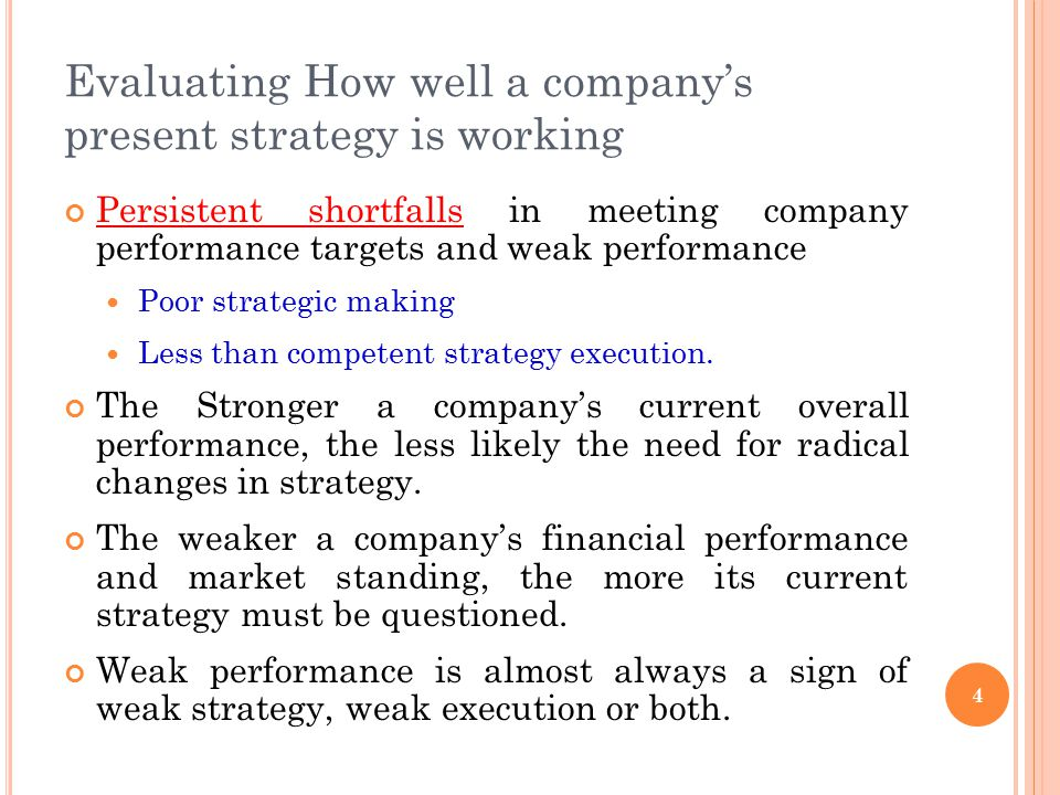 Evaluating How well a company's present strategy is working