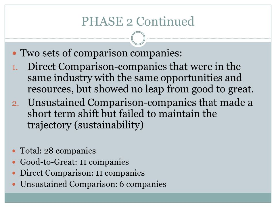 PHASE 2 Continued Two sets of comparison companies: