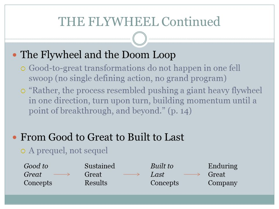 THE FLYWHEEL Continued