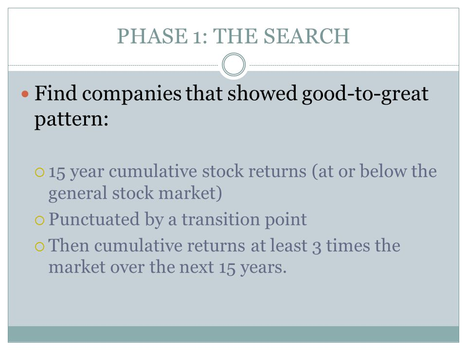 PHASE 1: THE SEARCH Find companies that showed good-to-great pattern: