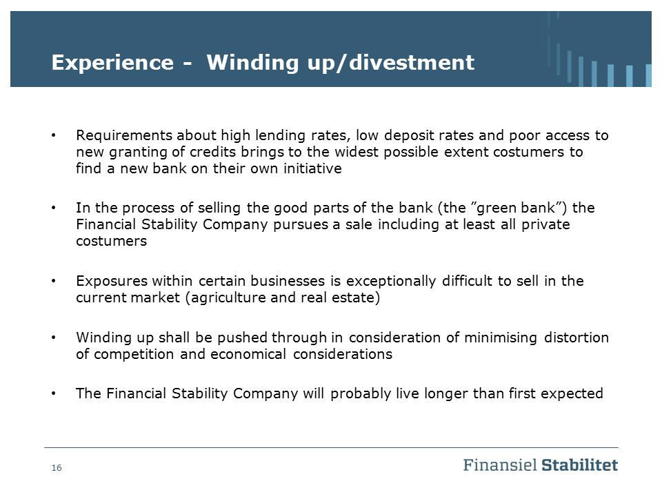 Experience - Winding up/divestment