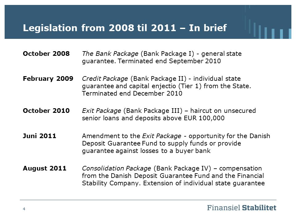 Legislation from 2008 til 2011 – In brief