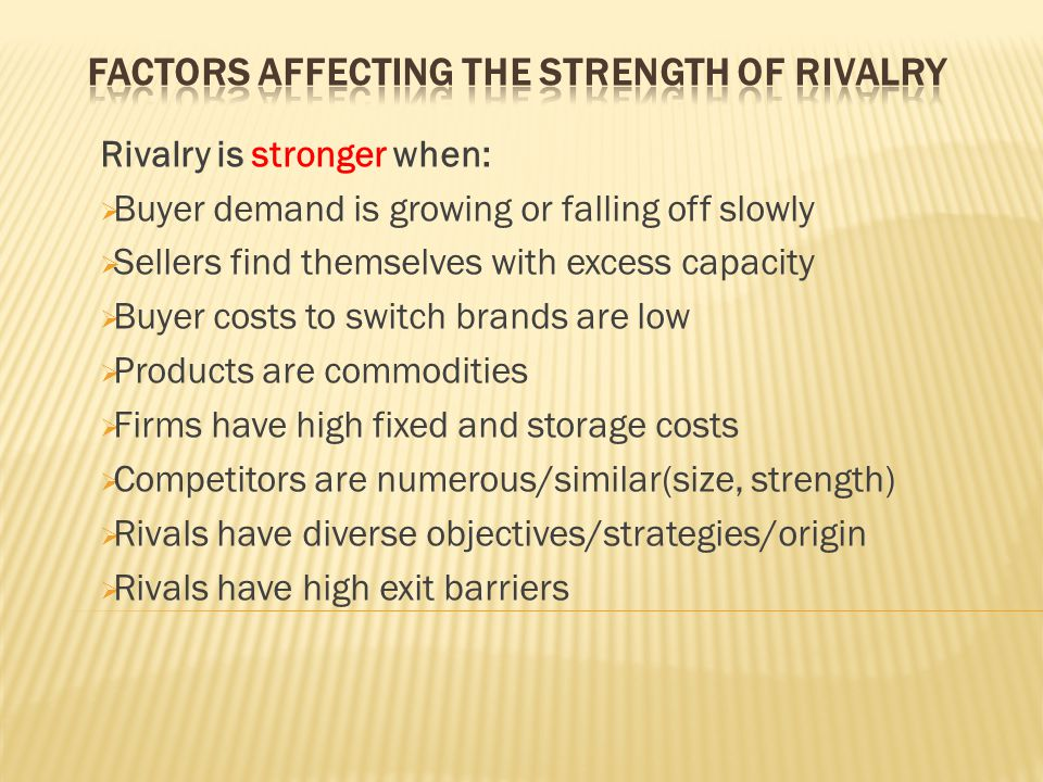 Factors Affecting the Strength of Rivalry
